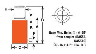 Hydraulický válec hliníkový, typ RA 1006 - 1 ks